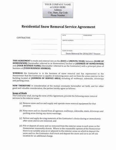 Snow Removal Contract Template Inspirational Snow Plow Hourly Rate Residential Agreement $12 99 Download now