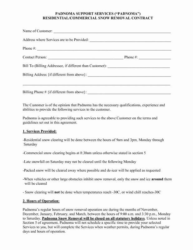 Snow Removal Contract Template Lovely Snow Plowing Contracts