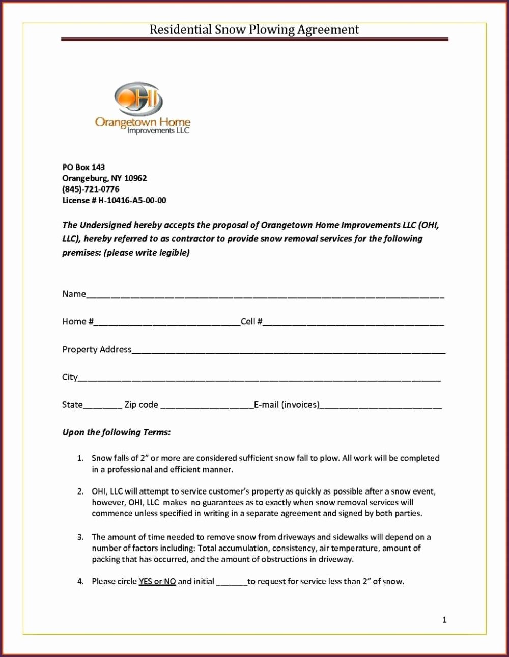 Snow Removal Contract Template Unique Snow Removal Contract Template Sampletemplatess Sampletemplatess