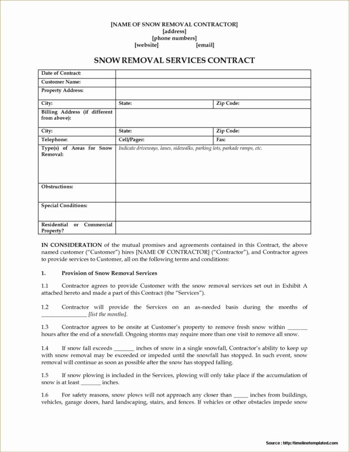 Snow Removal Contracts Template Lovely Snow Removal Contract forms form Resume Examples J1ak16game