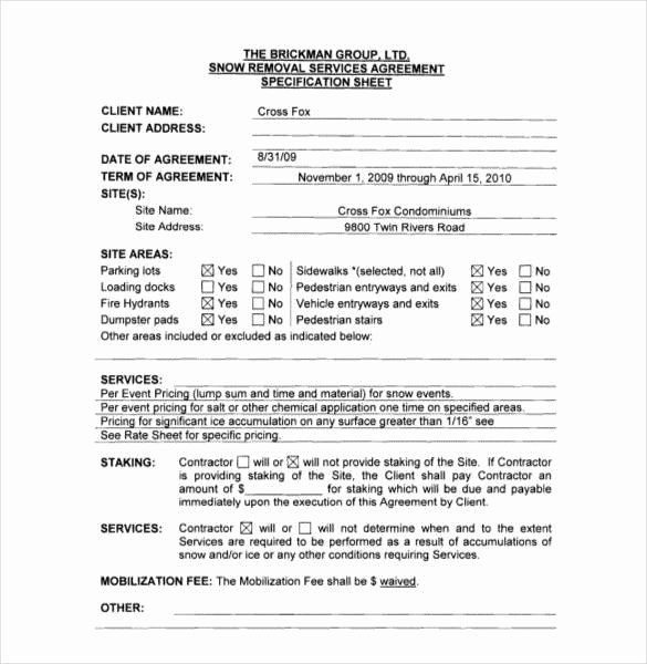 Snow Removal Contracts Templates New Snow Removal Contract Template 1721