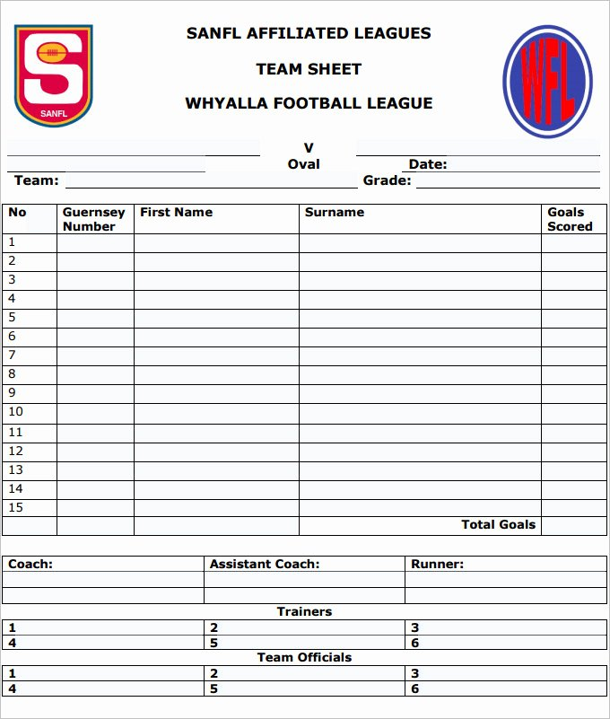 Soccer Score Sheet Template Awesome Football Team Sheet Template 6 Pdf