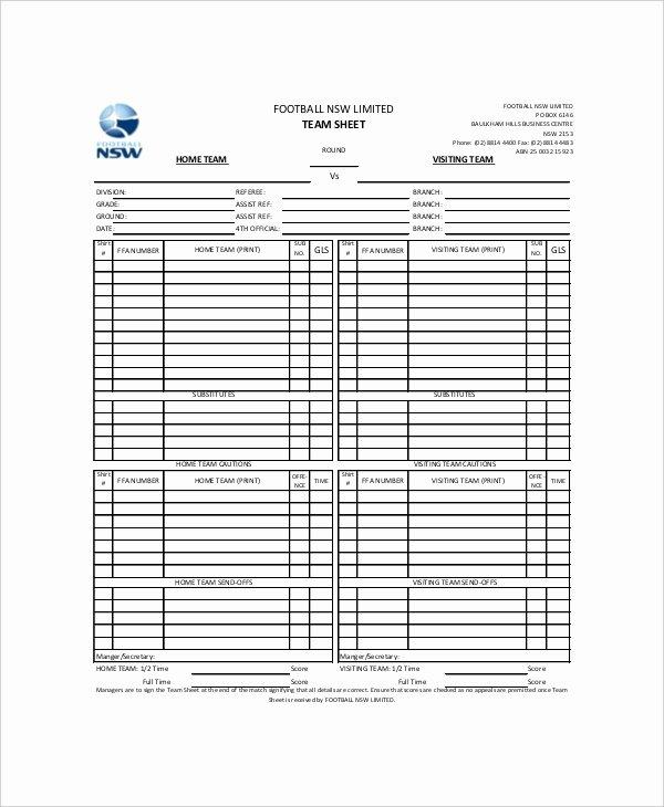 Soccer Score Sheet Template Beautiful 8 Football Scorecard Templates – Free Sample Example format Download