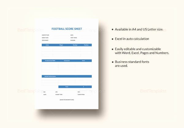 Soccer Score Sheet Template Elegant Sample Football Score Sheet 12 Documents In Pdf