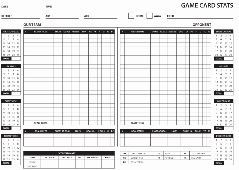 Soccer Score Sheet Template Lovely soccer Stat Sheet 2019