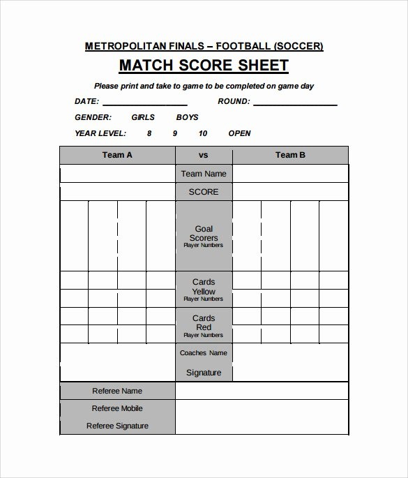 Soccer Score Sheet Template Luxury 11 Football Score Sheets Free Sample Example format
