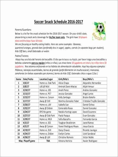 Soccer Snack Schedule Template Best Of Free 11 Snack Schedule Samples & Templates