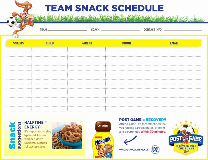Soccer Snack Schedule Template Fresh Snack Schedule Templates