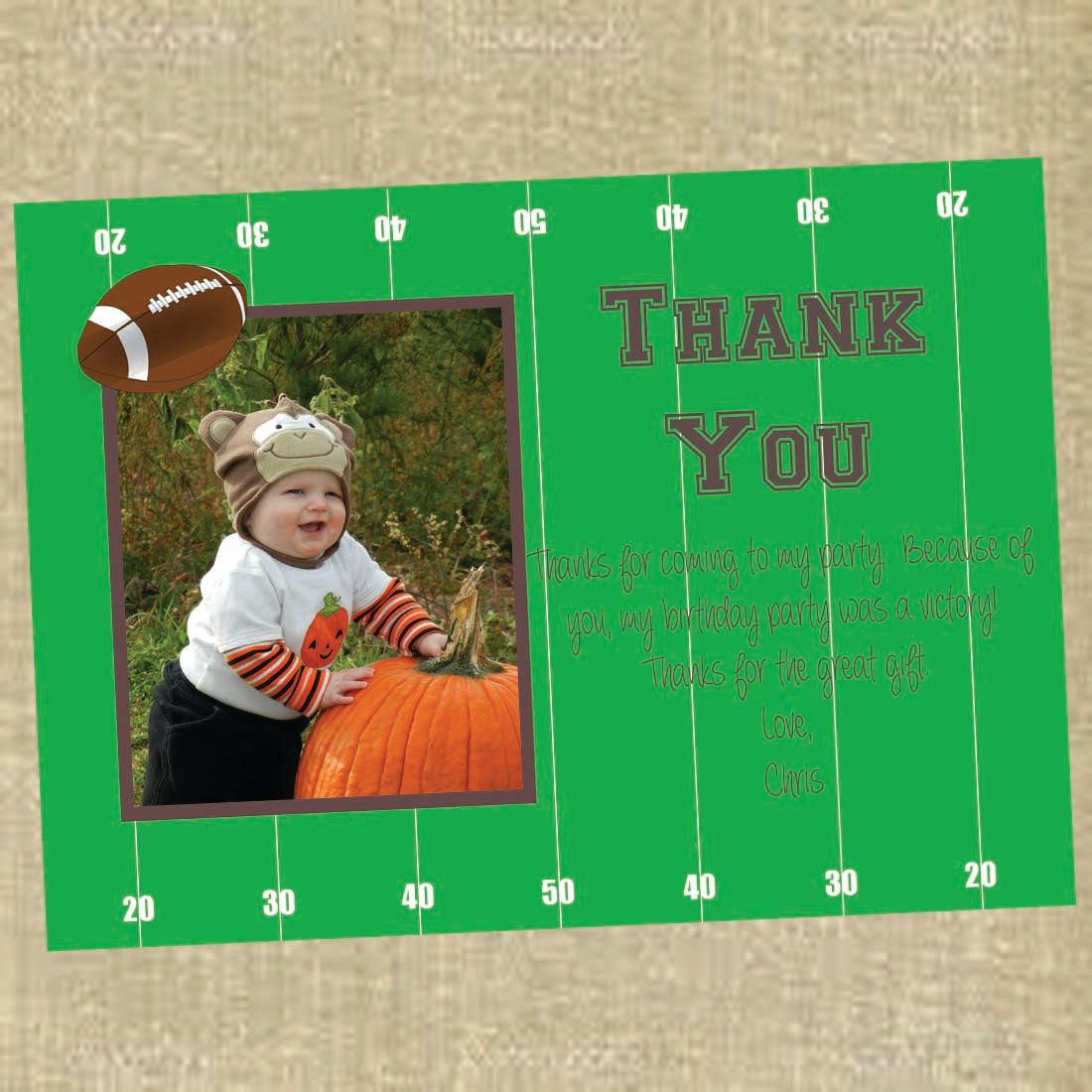 Soccer Thank You Cards Awesome Football Birthday Thank You Cards Photo Thank You Football