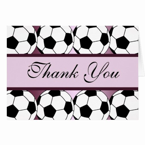 Soccer Thank You Cards Beautiful soccer Ball Player Sports Girls Pink Thank You Greeting Card