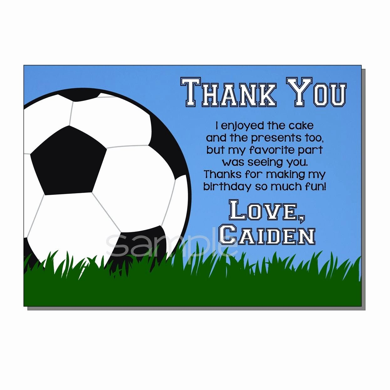 Soccer Thank You Cards Best Of soccer Thank You Card Birthday Party Digital or Printed