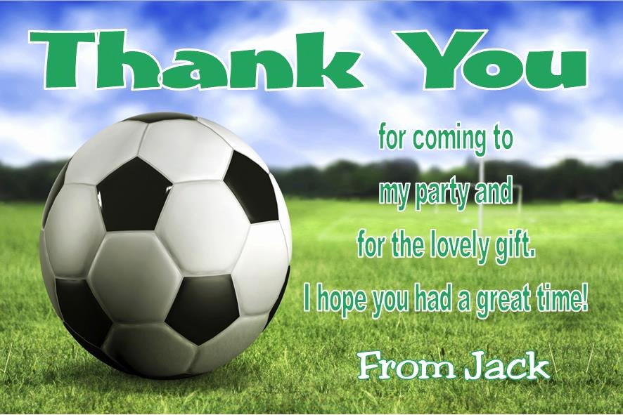 Soccer Thank You Cards Elegant Personalsied Football theme Thank You Cards