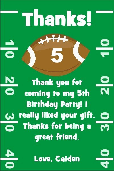 Soccer Thank You Cards Lovely Football Thank You Cards Personalized Party Invites