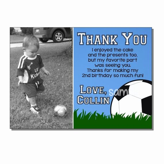 Soccer Thank You Cards Lovely soccer Thank You Card Birthday Party Digital or Printed