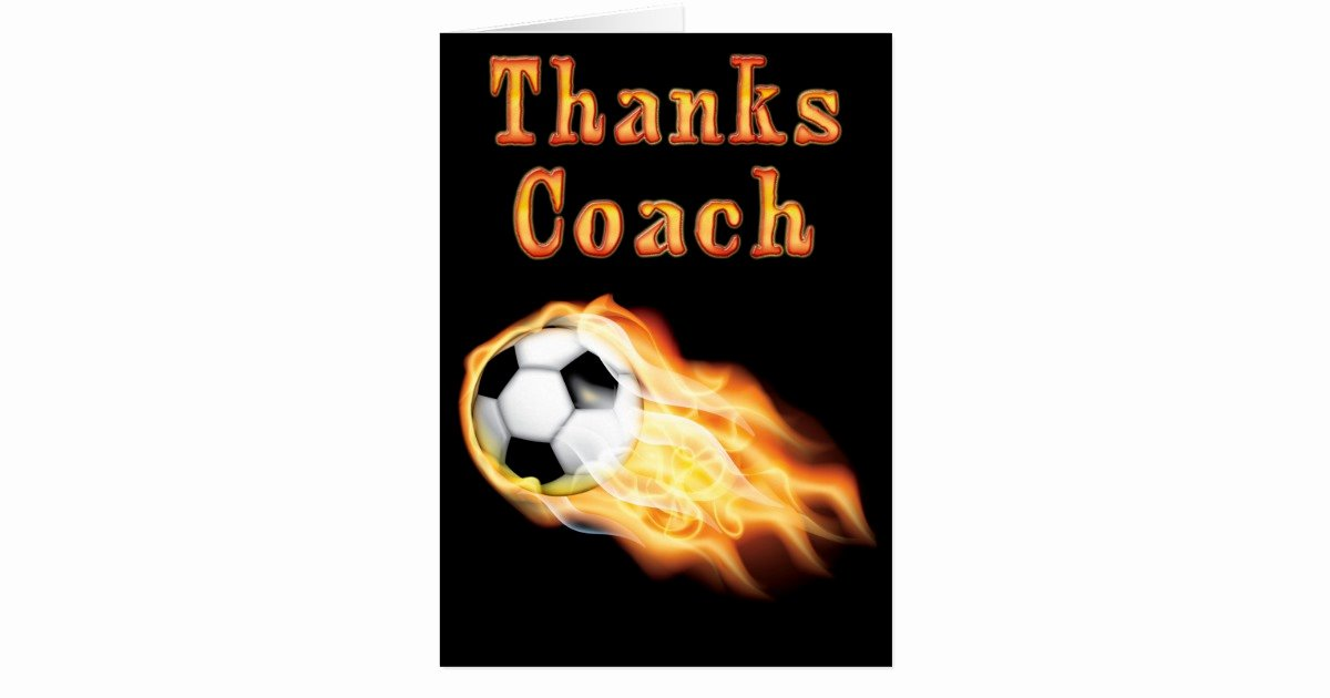 Soccer Thank You Cards Unique Custom Cool Flaming soccer Coach Thank You Card