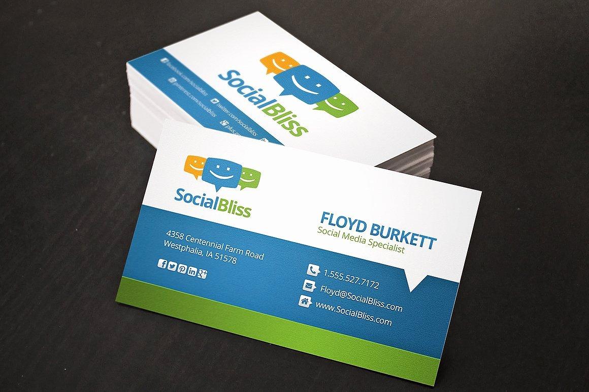 Social Media Business Card Lovely social Media Business Card Business Card Templates Creative Market
