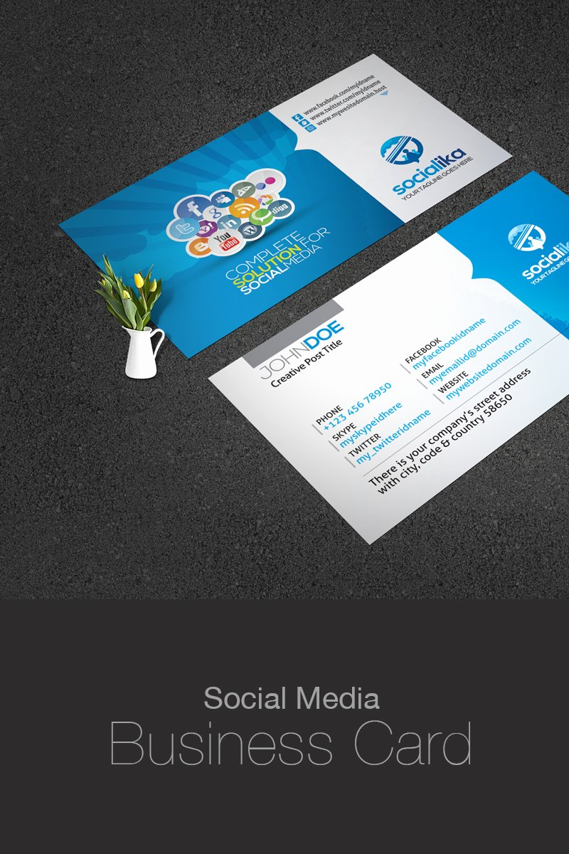 Social Media Business Card Templates Beautiful social Media Business Card Corporate Identity Template