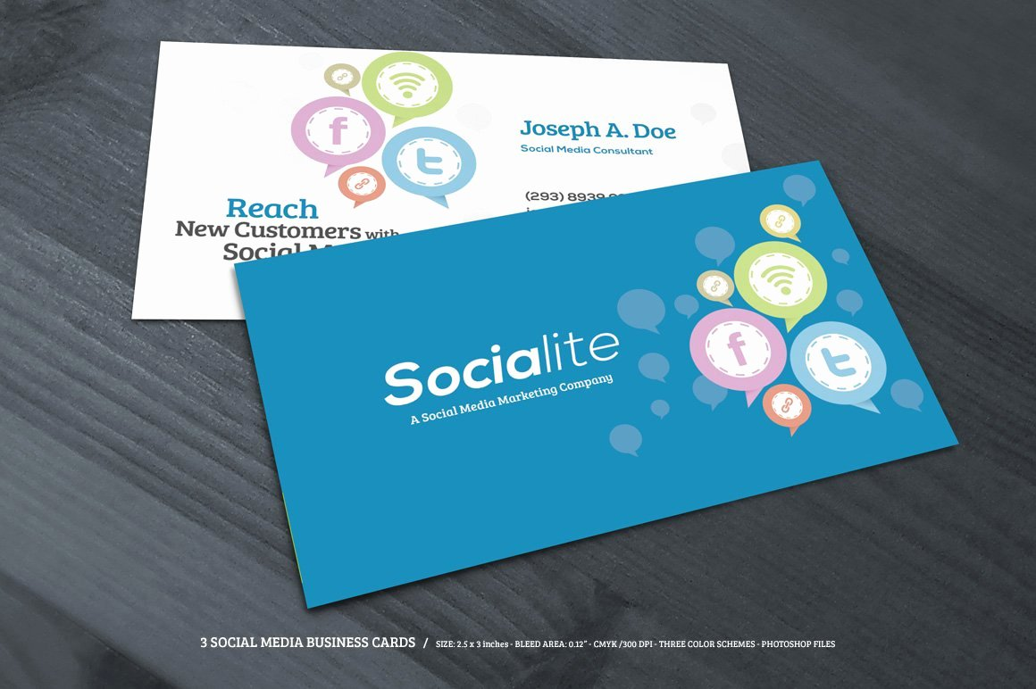 Social Media Business Card Templates Elegant 3 social Media Business Cards Business Card Templates Creative Market