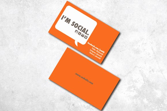 Social Media Business Card Templates Elegant I M social Business Card Business Card Templates On Creative Market