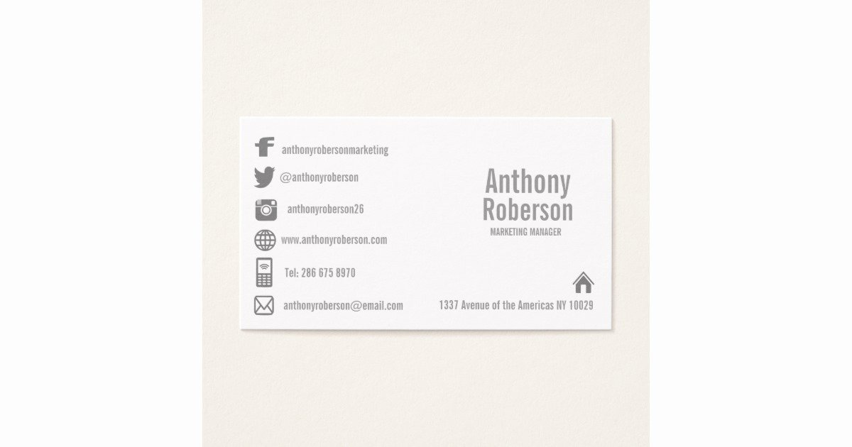 Social Media Business Card Templates Lovely Custom Template with social Media Symbols Business Card