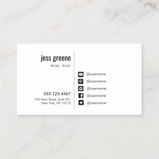Social Media Business Card Unique Professional Black and White social Media Icons Business Card