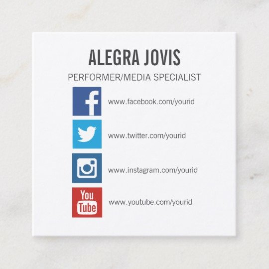 Social Media Business Card Unique social Media Icons Symbols Square Business Card