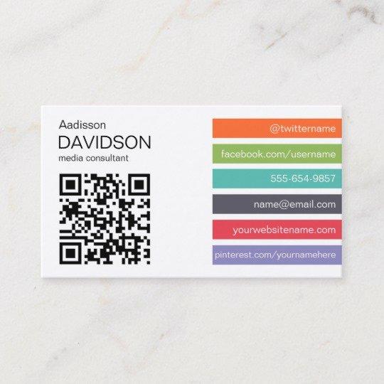 Social Media Business Cards Elegant Bright Bar Qr Code social Media Business Card