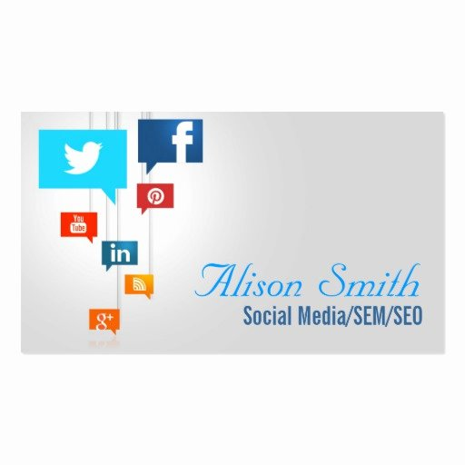 Social Media Business Cards Template Fresh social Media Sem Seo Double Sided Standard Business Cards Pack 100