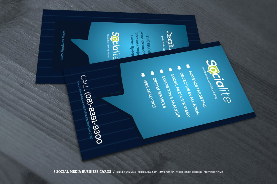 Social Media Business Cards Template Inspirational Preview 02 Creative Market 3 social Media Business Cards O