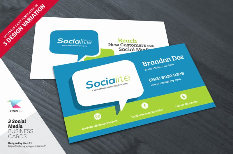 Social Media Business Cards Template Luxury 3 social Media Business Card Templates by Kinzi 21