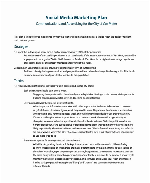 Social Media Marketing Proposal Pdf Luxury Sample social Media Marketing Plan 13 Examples In Pdf Word Docs