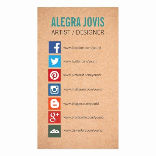 Social Media On Business Card Lovely social Media Icons Symbols Business Card