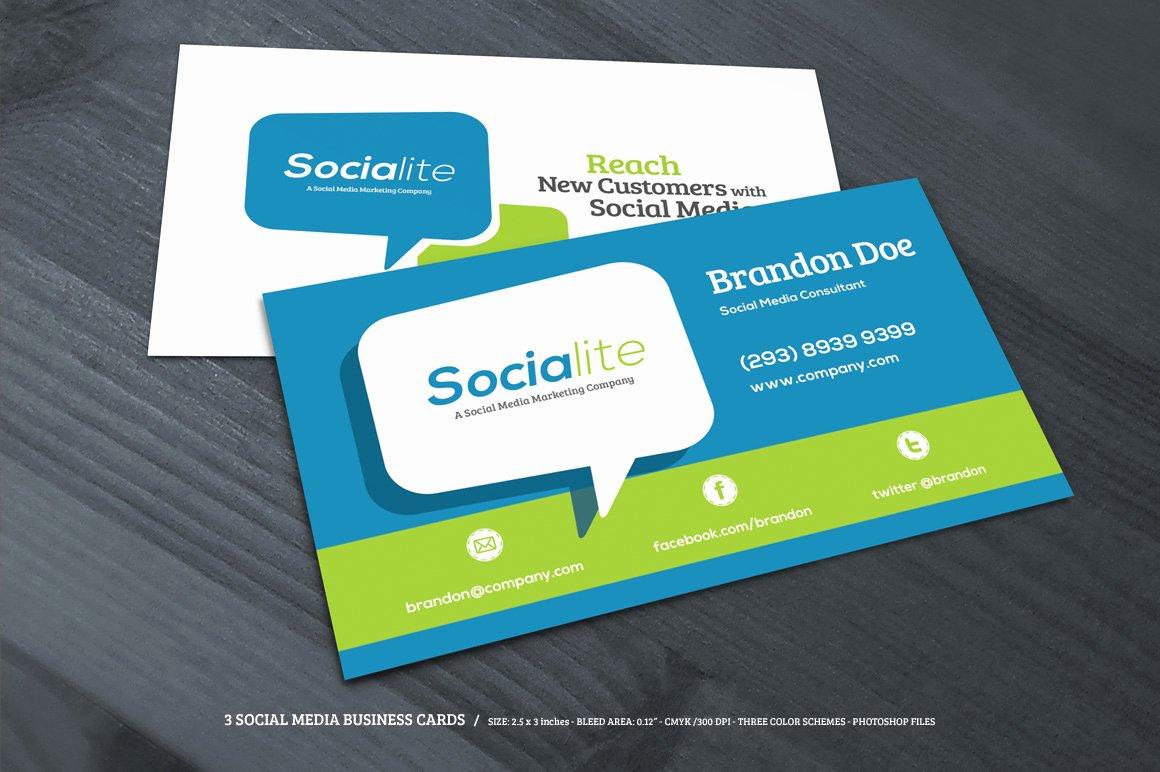 Social Media On Business Card Luxury 3 social Media Business Cards Business Card Templates On Creative Market