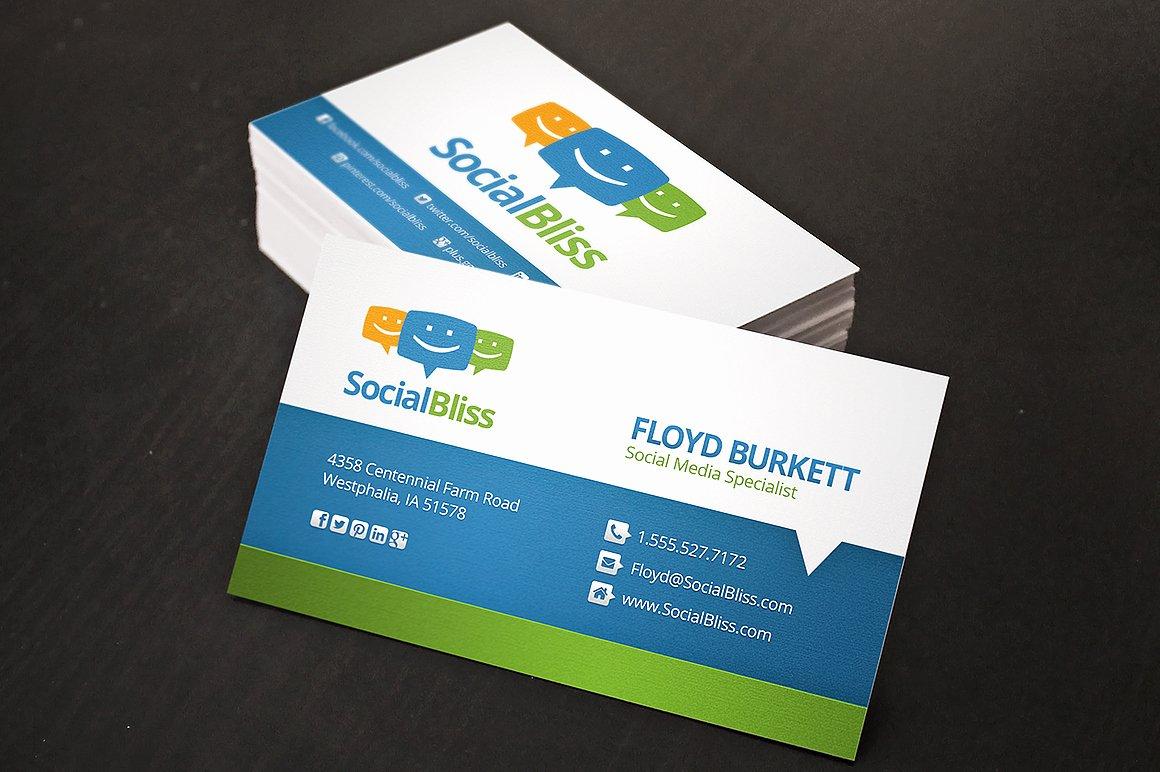 Social Media On Business Card Luxury social Media Business Card Business Card Templates On Creative Market