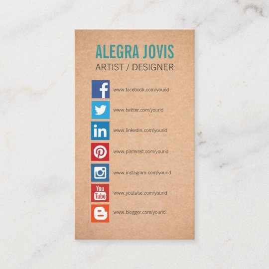 Social Media On Business Card New social Media Icons Symbols Business Card
