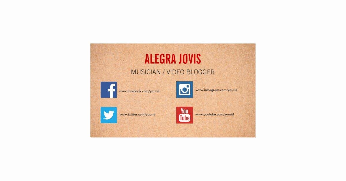 Social Media On Business Cards Elegant social Media Musician You Tube Business Card