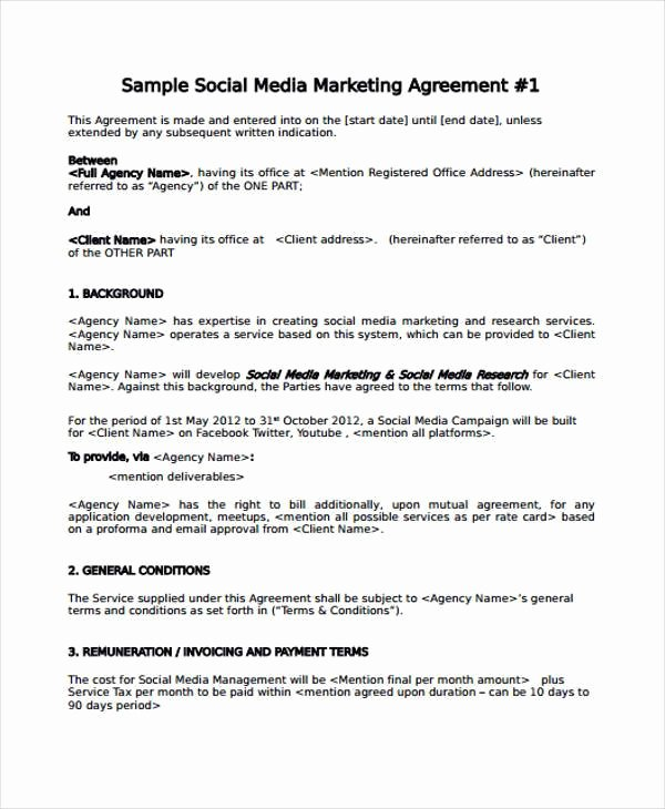 Social Media Proposal Pdf Unique 7 Marketing Agreement form Samples Free Sample Example format Download