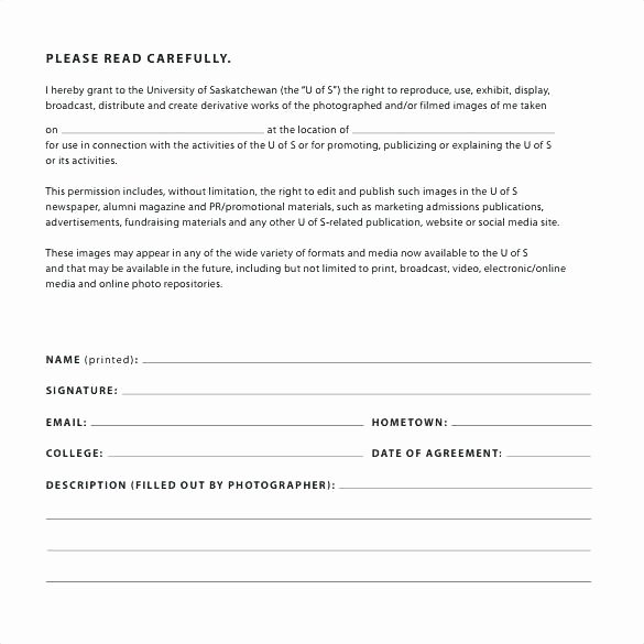 Social Media Release form Awesome Photo Consent Release form Template – Automotoreadfo