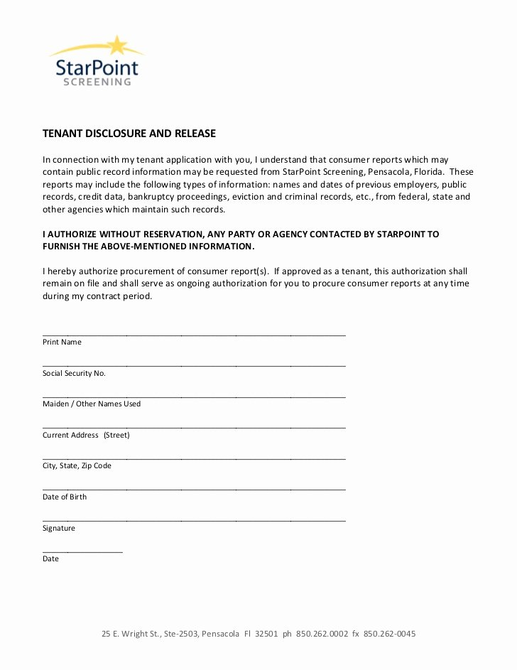 Social Media Release form Unique Authorization form Disclosure and Release Tenant