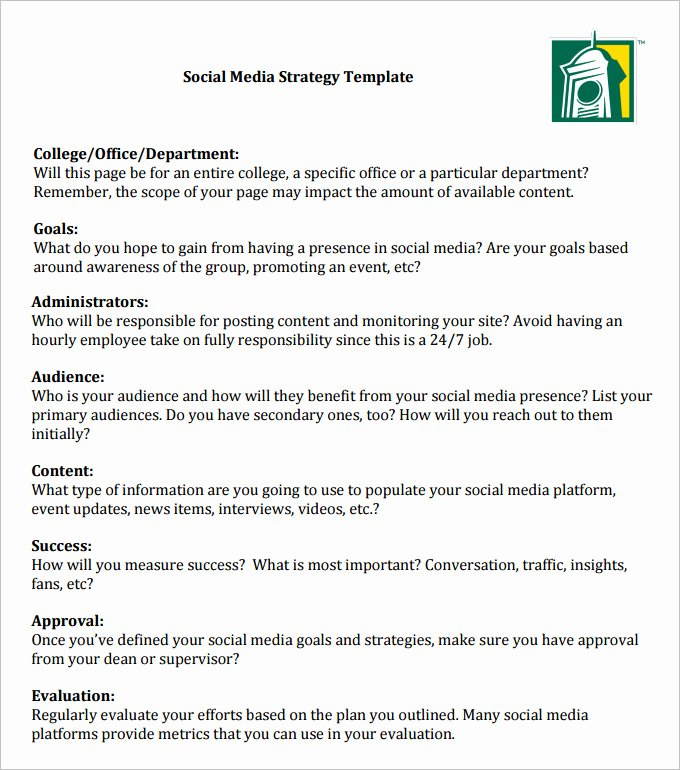 Social Media Strategy Template Pdf Beautiful social Media Strategy Template 14 Free Word Pdf Documents Download