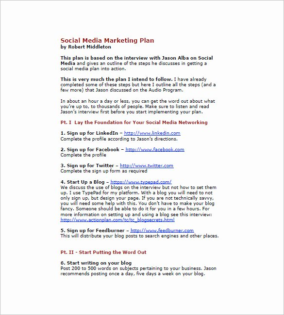 Social Media Strategy Template Pdf Inspirational 13 social Media Marketing Plan Templates Docs Pdf Word