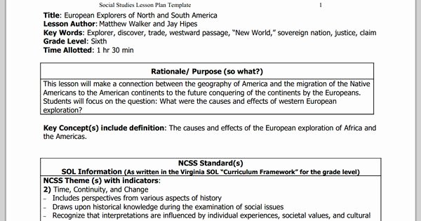 Social Studies Lesson Plan Templates Best Of European Explorers Of north and south America 6th Grade social Stu S Lesson Plan Template