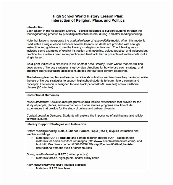 Social Studies Lesson Plan Templates Inspirational High School Lesson Plan Template 6 Free Word Documents Download