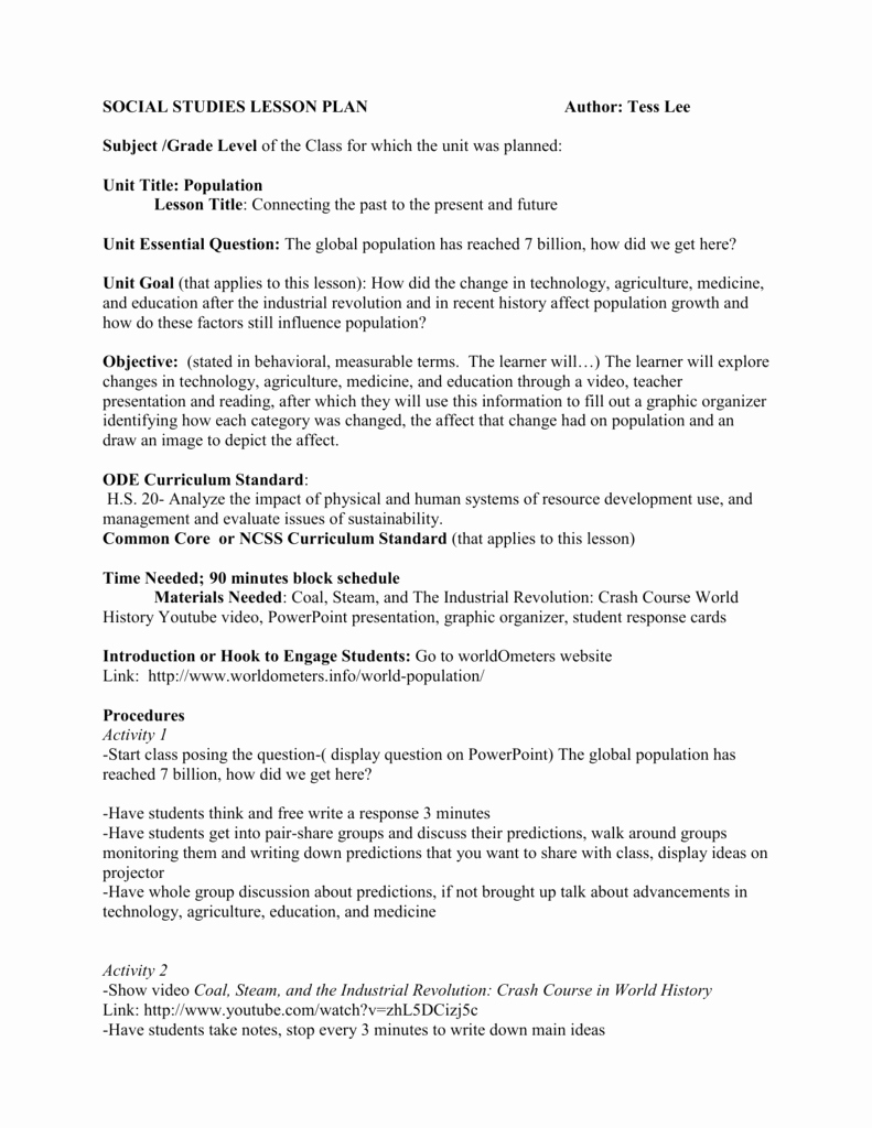 Social Studies Lesson Plan Templates Luxury social Stu S Lesson Plan Template