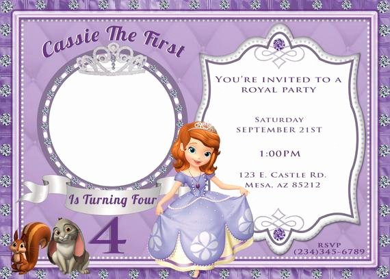 Sofia the First Invitation Templates Beautiful Items Similar to sofia the First Invitation On Etsy
