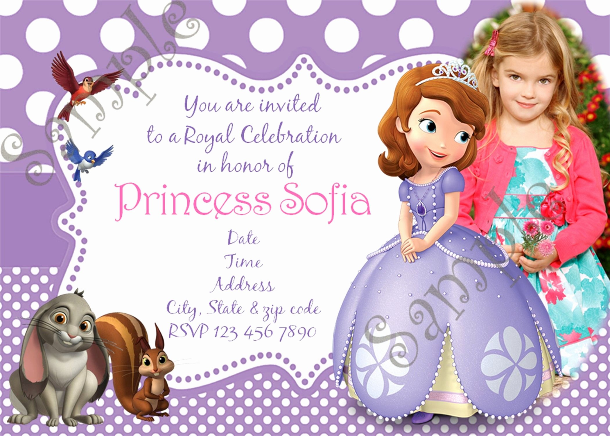 Sofia the First Invitation Templates Beautiful sofia the First Birthday Party Invitation sofia the First Birthday Party