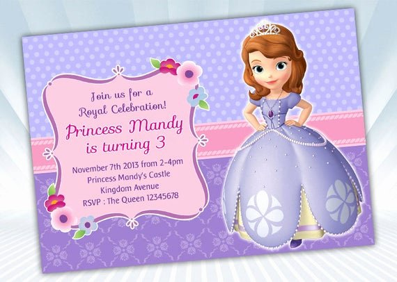 Sofia the First Invitation Templates Best Of Princess sofia Invitation