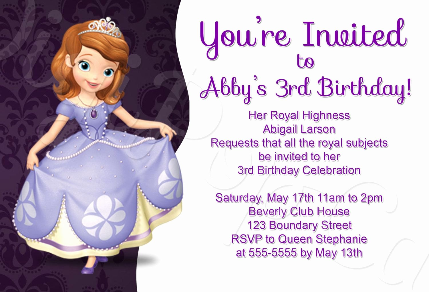 Sofia the First Invitation Templates Elegant Princess sofia Birthday Invitation Template Invitation Templates Designsearch Results for