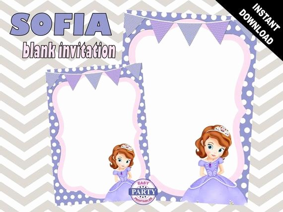 Sofia the First Invitation Templates Elegant sofia the First Blank Birthday Invitation Template Purple