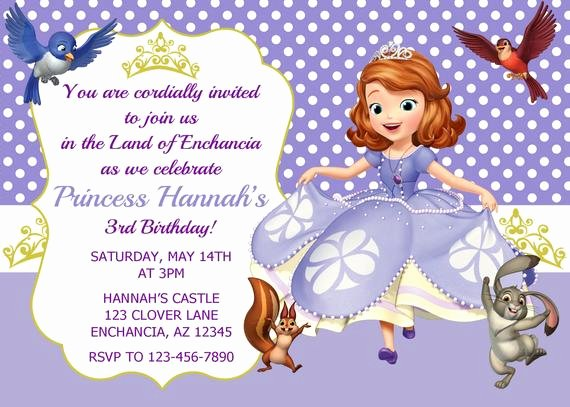 Sofia the First Invitation Templates New sofia the First Invitation Princess sofia Invitation